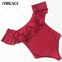 OMKAGI Brand Swimwear Women Swimsuit One Piece Push Up Sexy Bodysuit Bathing Suit Monokini Swim Suit