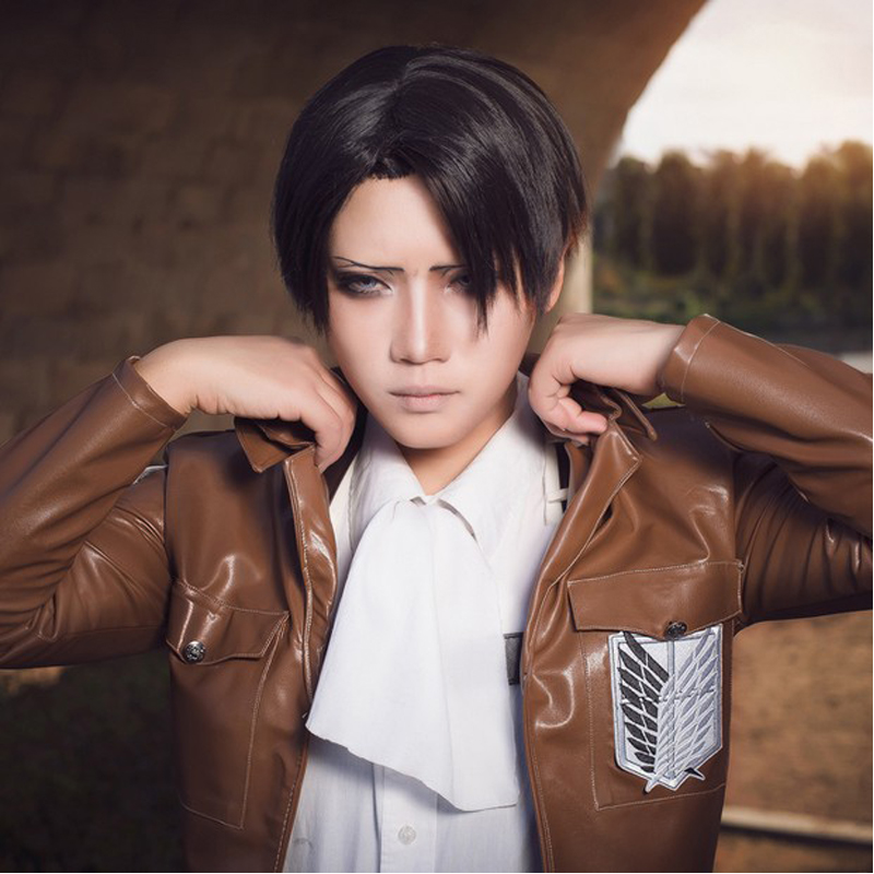 Beliebt Attack On Titan Levi Ackerman Anime Short Cosplay Wig Black Men's  XQ53