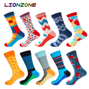 Image 2 - 10 Pairs/Lot Men Socks Combed Cotton Brand  Famous Oil Painting Striped Totem Ling Plaid Funny Happy Dress Male Sock + Free Gift
