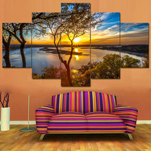 Posters Tableau Wall Art Home Decor Moderne 5 Panel Mooie Zonsopgang Natuurlijke Landschap HD Print Schilderij Modulaire Foto Canvas(China)