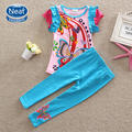 NEAT New free shipping summer girl suit set short sleeve cotton embroidered baby girl clothes T-shirt pure color pant TS3916