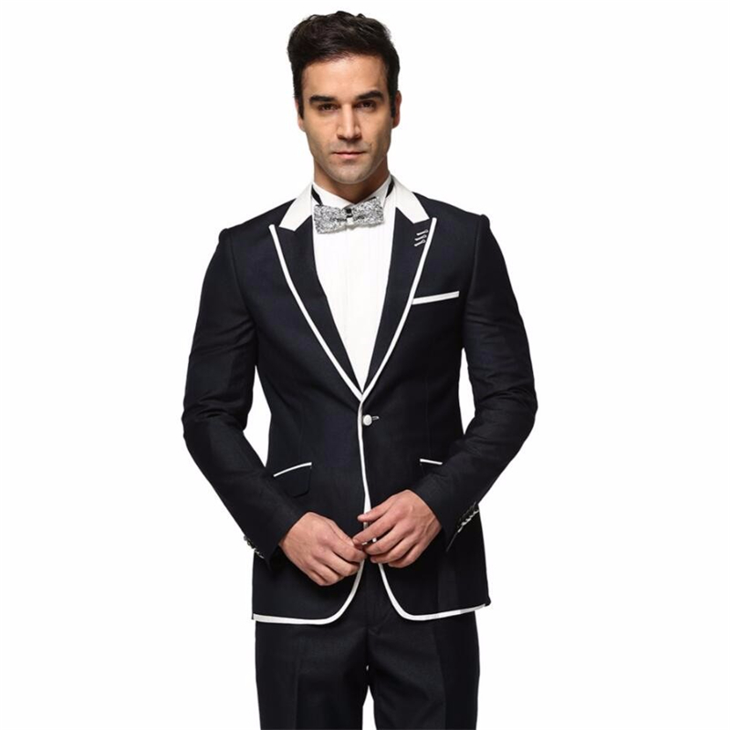 HB042 (Jacket+Pant) 2 Pieces Wedding Dress Men Formal Suits Spring Autumn Casual Long Sleeve Blazer Black And White Men Suit