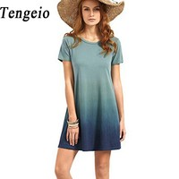 Tengeio 2017 New Bohemian Tie Dye Dress Women Casual Short Sleeve Loose Beach Summer Cotton T