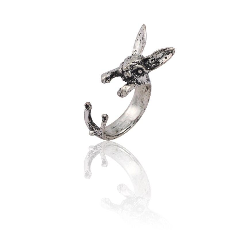 Fashion Simple Hip Hop Silver Rabbit Ring Lady Retro Punk Animal Men Gothic Unisex Open Jewelry Gift
