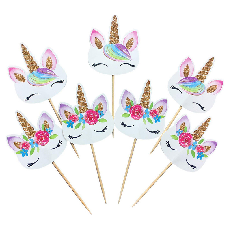 24pcs Unicorn Cupcake Toppers Party Supplies Cake Decorating Insert Card Pick Kids Birthday Party wedding cake flag decoration