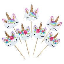 24pcs Unicorn Cupcake Toppers Party Supplies Cake Decorating Insert Card Pick Kids Birthday Party wedding cake flag decoration(China)
