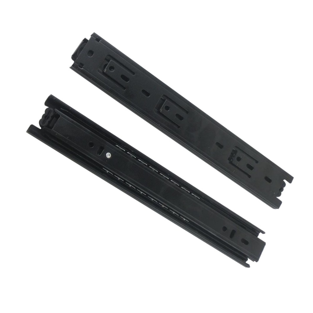2pcs 14inch Drawer Slides Runner 40mm Width Black Cold-Rolled Steel Fold Telescopic Ball Bearing Sliding Rail for Drawer Cabinet 10 inch 20 inch large 50c triple pumping track muffler bearing drawer slides ball three sections