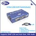 VGA Switch kvm CKL-74UA 4 Auto Porta USB Suporta Switcher de Áudio do Microfone para PC Monitor Rato Teclado com Cabos Originais