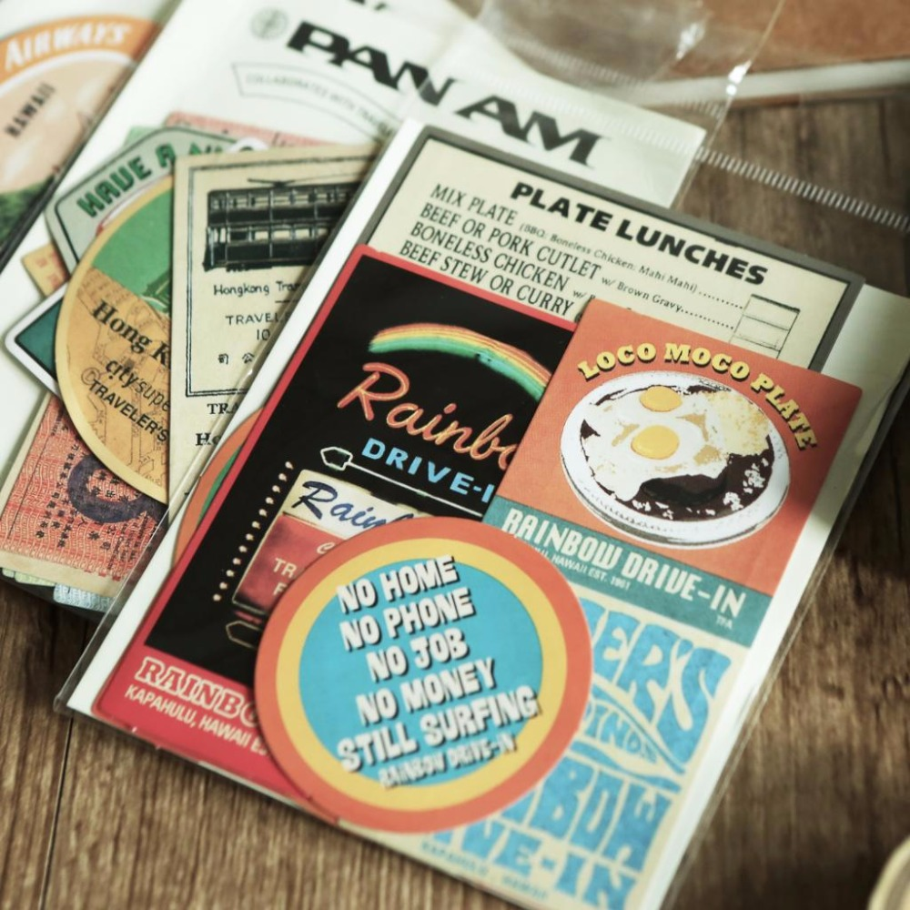 Retro Anniversaries Pan Am Ellipse Hawaii Hongkong Decorative Stationery Stickers Scrapbooking DIY Diary Album Stick Lable
