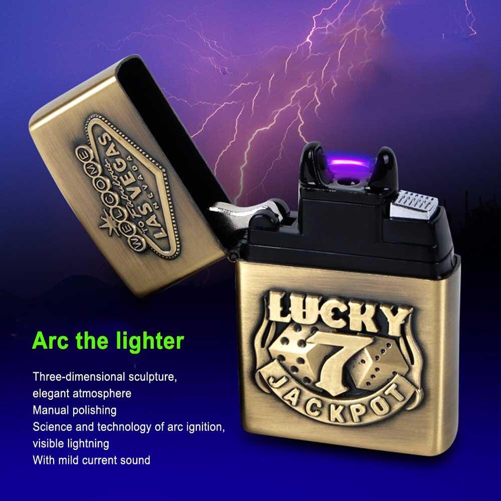 Мужской подарок Arc Зажигалки Металла USB Перезаряжаемые Непламено электрическая дуга Ветрозащитный сигары прикуривателя
