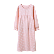 spring autumn long sleeve night gown kids pajamas pink loose sleeping dress cotton fabric night dress children clothes wholesale