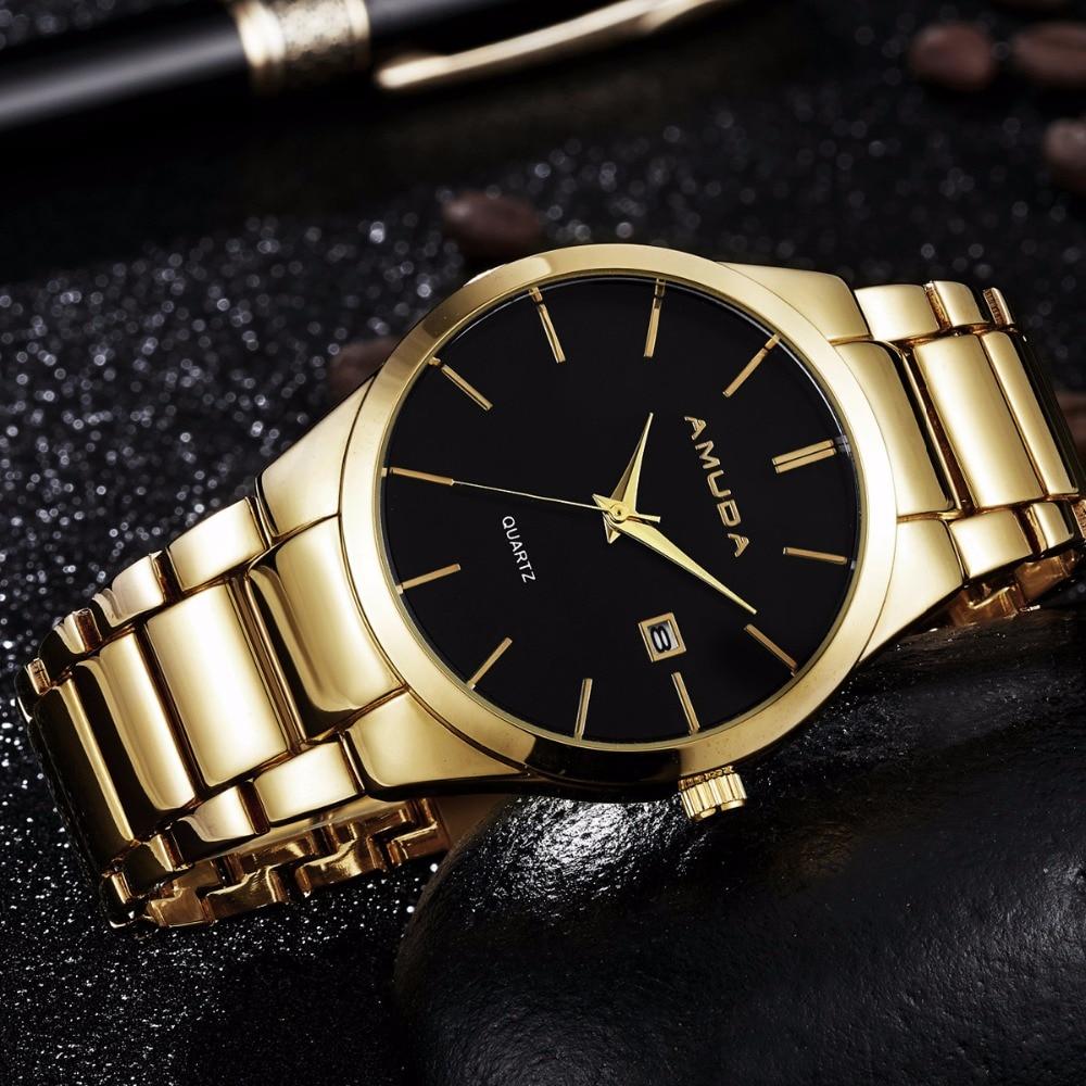 2018 AMUDA Calendar Gold Quartz Watch Men Clock Luxury Wrist Watches Golden Hodinky Relogio Masculino quartz-watch orkina p0032 stylish men s quartz analog wrist watch simple calendar brown golden 1 x lr626