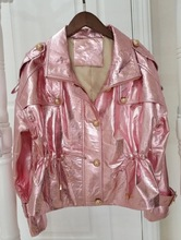 Arlenesain custom women pink sheepskin bright skin jacket.