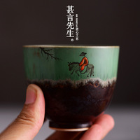 What say Mr Jingdezhen kiln wood beaker hand painted famille rose tea cup sample tea cup small fang, bowl masters cup