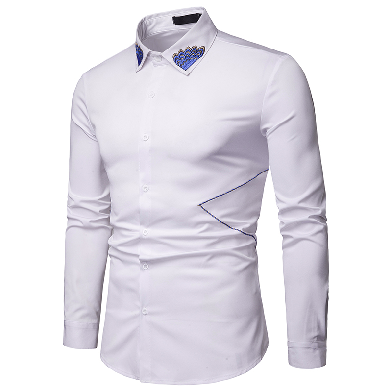 Fashion new 2019 men 39 s long sleeved shirt men 39 s solid color classic casual comfortable Slim button shirt men 39 s shirt in Casual Shirts from Men 39 s Clothing