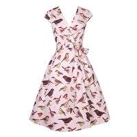 V Neck Women Rockabilly Dress Retro PinUp Hepburn Swing Woman Dresses Female Vestidos 50s 60s Bow