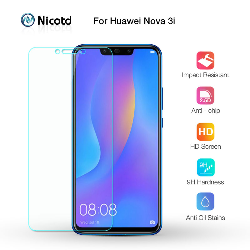 Nicotd 2.5D 9H Premium Tempered Glass For Huawei P Smart Plus + Screen Protector Protective Film For Huawei Nova 3i 6.3 Inch