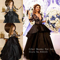 Free Shipping Hot sale Cheap Arabic myriam fares dress 3/4 sleeve Ball gown Black V-neck celebrity dresses