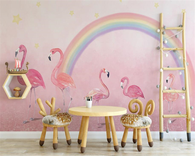 Beibehang Custom Wallpaper Hand Painted Flamingo Kids Room Pink Background Wall For Walls 3