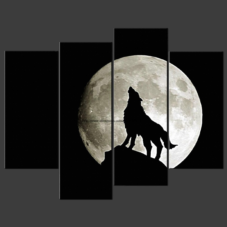 Wolf Moon Night Cascade Canvas Picture Many Oil Paintings African Decor  Large Wall Decor For Living