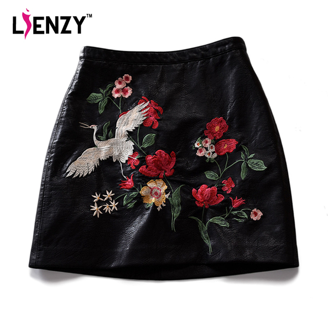 01ca88bd5c LIENZY Primavera Mujeres de La Manera de Cuero de LA PU Mini Falda Floral  bordado Negro