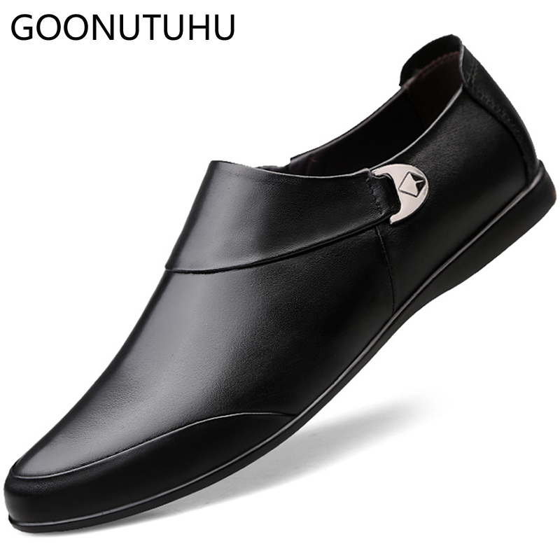 2019 Fashion Men's Shoes Casual Genuine Leather Cow Loafers Male Classic Brown Black Big Size 46 Shoe Man Driving Shoes For Men