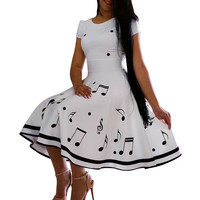 Ladies Print Dress Summer Musical Note Sleeveless O Neck Dress Evening Party Dress For Women