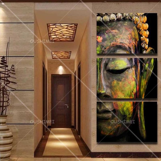 Free Shipping Hand-painted High Quality Impressionist Buddha Head Oil Painting on Canvas 3 Panels Buddha Oil Painting for Decor