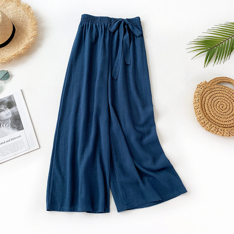 2019 Summer New Arrival Comfortable Cotton Flax Loose   Pants   Ankle-Length Flax   Wide     Leg     Pants   Sweet Tie   Pants   Free Shipping