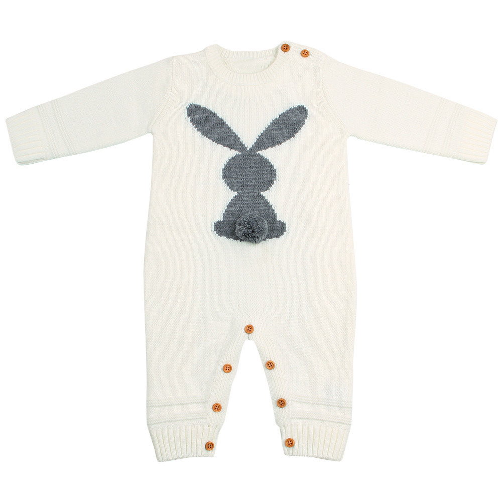5787108b608f Baby Clothes Funny Rabbit Knitted Newborns Boy Girl Rompers Spring Long  Sleeve Infantil Bebes Jumpsuits Children Easter Overall