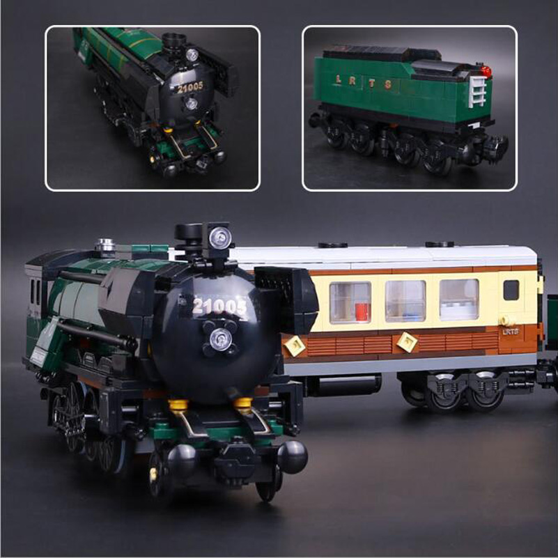 21005 Emerald Night Train Blocks Toys Compatible Christmas Gifts For Children Lepin Genuine Technic Series Building Blocks Set cargo train model block toys city rc train birthday gifts for children compatible lepin technic series building blocks set 02008