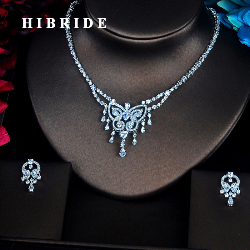 HIBRIDE Brilliant Sparkling Butterfly Shape Full Jewelry Sets Women Bride Necklace Set Dress Accessories Party Show N-355 hibride luxury new butterfly shape earring necklace jewelry set women party jewelry small link pendant brincos bijoux n 643
