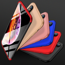 GKK for iphone XR 3 IN 1 anti-shock 360 Full protection Matte  Hard PC cover XS/XS MAX fundas shell Business plain