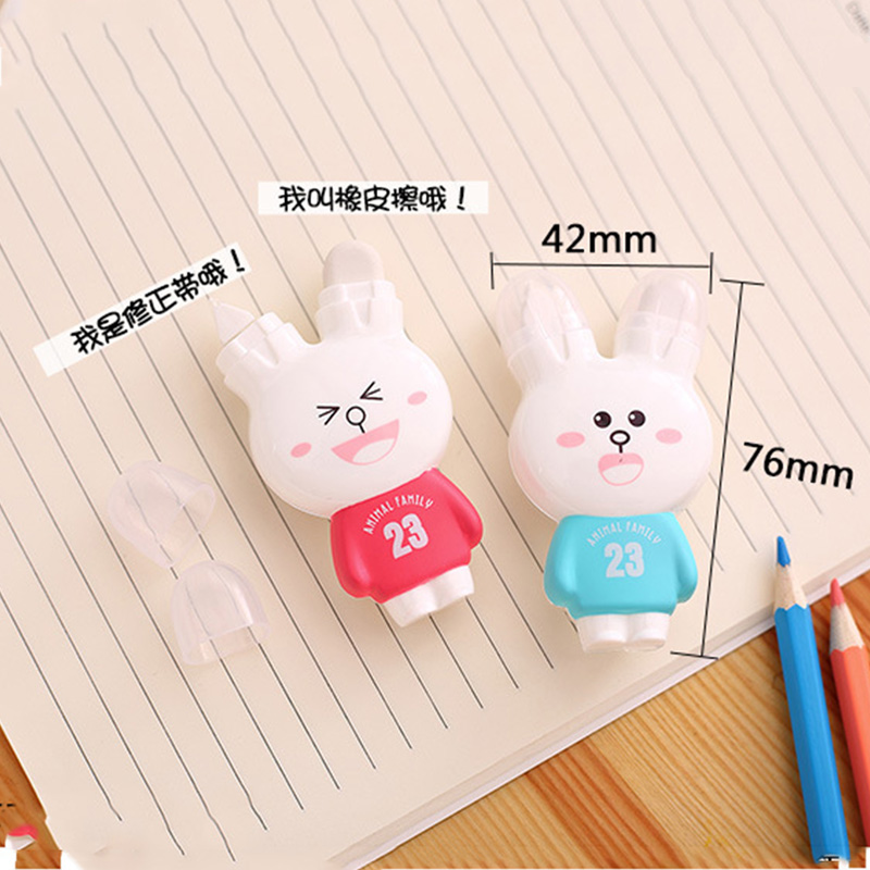 1 Pcs Cartoon Rabbit Correction Tape Erasers Kawaii Stationery Gifts Correction Tools For Kids Office School Correction Supplies
