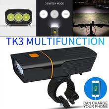 TK3 3T6 LED USB Rechargeable Power Bank with 3 Modes and 360 Degree Rotary Bracket Waterproof Bicycle Headlight for Night Riding