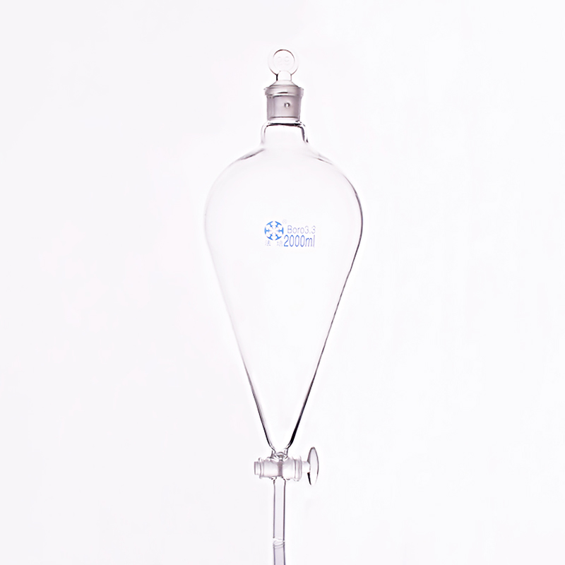 Separatory funnel pear shape,with ground-in glass stopper and stopcock.Capacity 2000ml,glass switch valve 2pcs lot glass connecting pipe glass tube valve 3 connecting glass piston stopper for shunt