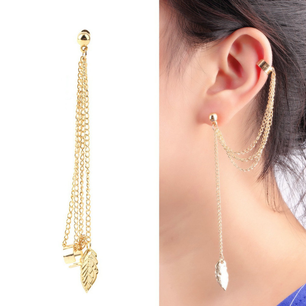 New Fashion Women Stylish Punk Rock Leaf Chain Tel Dangle Ear Cuff Wrap Earring Jewelry In Clip Earrings From Accessories On