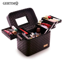 Women Professional Big Suitcase For Make Up With Mirror Ladies PU Cosmetic Box Organizer Bag Female Artist Makeup Bags Case 316 new arrive hot 2pc set portable jewelry box make up organizer travel makeup cosmetic organizer container suitcase cosmetic case