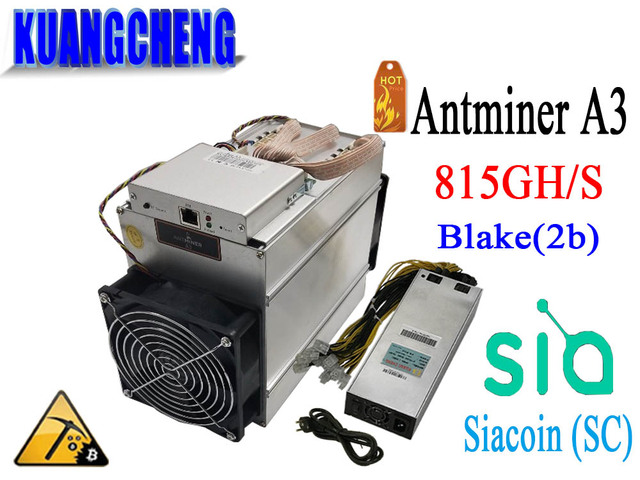 KUANGCHENG sale the Blake(2b) Siacoin ASIC Miner Antminer A3 815GH/s (1275W on wall) with PSU high profit from Bitmain