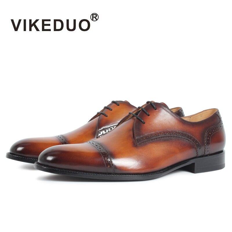 VIKEDUO Handmade Vintage Mens Derby Shoes Brown Genuine Leather Custom Party Dance Dress Office Wedding Shoes Original Design стоимость