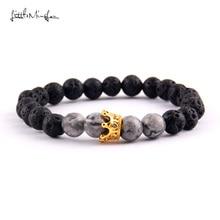 WML Luxury men bracelet 8mm natural stone bead & CZ Crown Charm Braided Bracelets bangles for women party gift