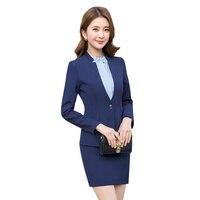 0f34a75423 Spring Two Pieces Suits Ladies Formal Skirt Suit Office Uniform Style  Female Business Suit For Work. Primavera Duas peças Ternos Senhoras Terno  de Saia ...