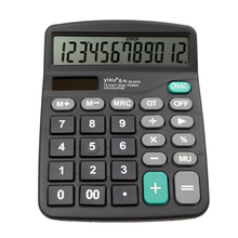 Modern Portable Office Commercial Tool (solar power + AA battery) 2in1 Powered 12 Digit Electronic Calculator with Big Button