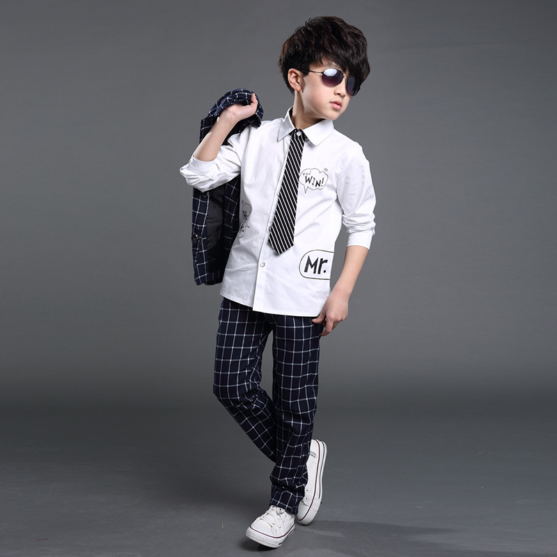 17c777b2d43ed Winter autumn Boys wedding clothes plaid British gentlemen suits kids  blazers noble style -in Clothing Sets from Mother   Kids on Aliexpress.com