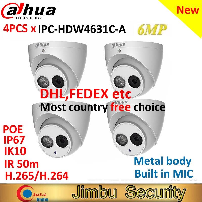 Dahua 4 sztuk 6MP kamera IP IPC HDW4631C A w całości z metalu ciała H.265 wbudowany mikrofon IR50m IP67 IK10 CCTV kamera kopułkowa monitoringu HDW4631C A w Kamery nadzoru od Bezpieczeństwo i ochrona na AliExpress - 11.11_Double 11Singles' Day 1