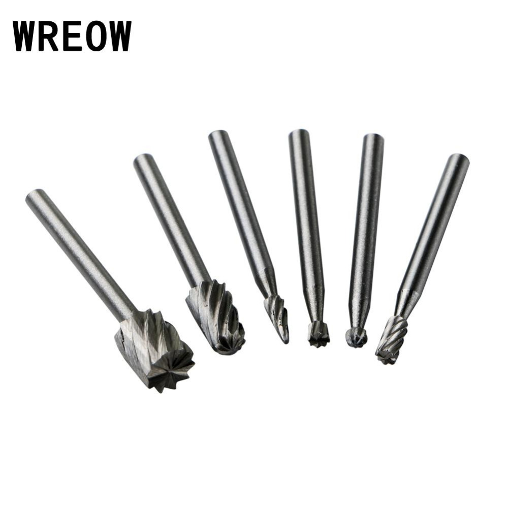 6Pcs 3mm Routing Router Bits Grinding Burr Rotary Tool For Wood Carving Rotary File Woodworking Carving Carved Cutter Tools