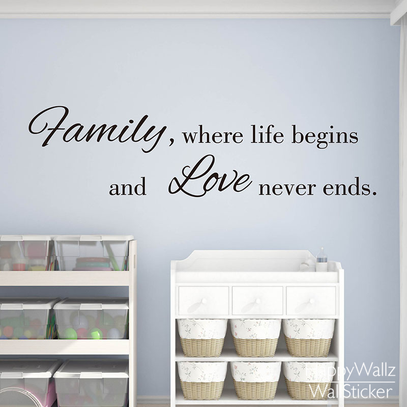 family love life quote wall sticker family life begins love never ends wall decal diy family