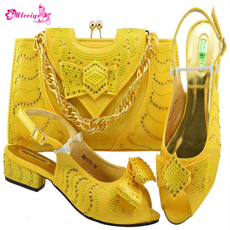 MM1075-YELLOW Newest African Style shoes and bag sets Italian shoe with matching bag TOP selling shoes and bags to match doershow shoe and bag to match italian african shoe and bag sets women shoe and bag to match for parties african shoe htx1 18