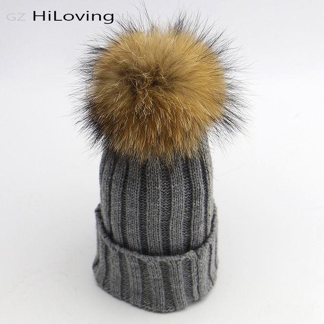 1de7f728fd760 Natural Real Fur Raccoon Pom Poms Hats For Kids Boys Girls 6 month - 3Years  Baby Childs Winter Soft Acrylic Knit Beanies Hats