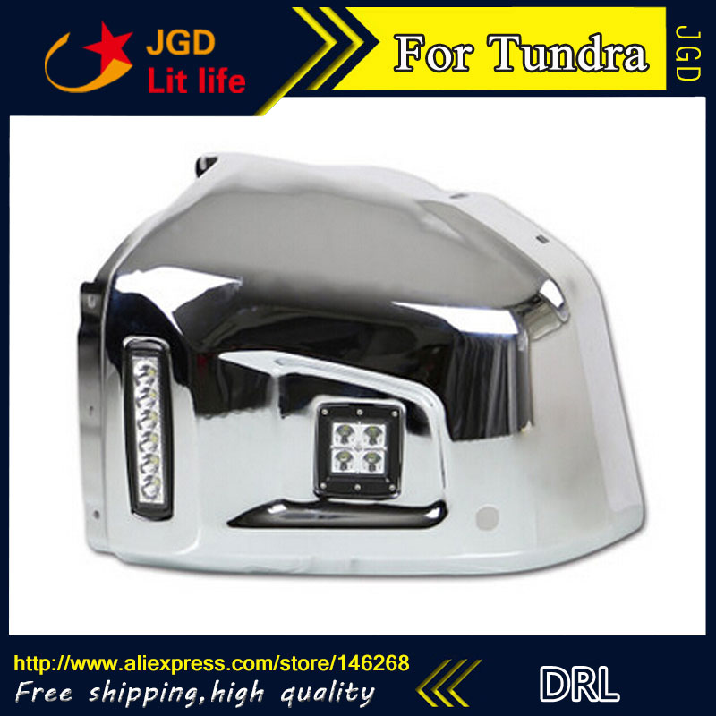 Free shipping ! 12V 6000k LED DRL Daytime running light for Toyota Tundra 2013-2016 fog lamp frame Fog light
